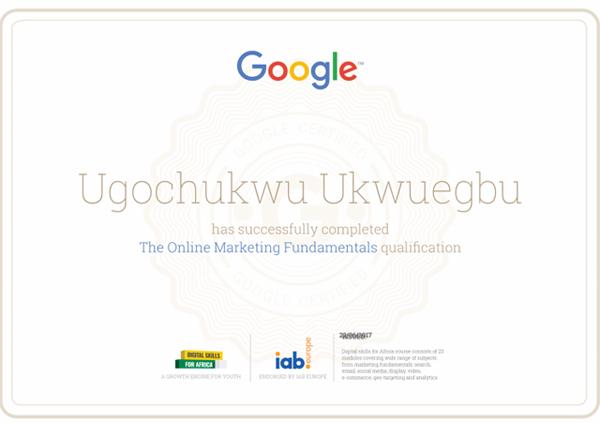 Google Certification in Online Marketing Fundamentals