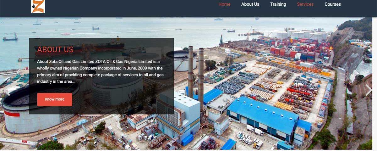 Zota Oil and Gas Nigeria Limited website screenshot