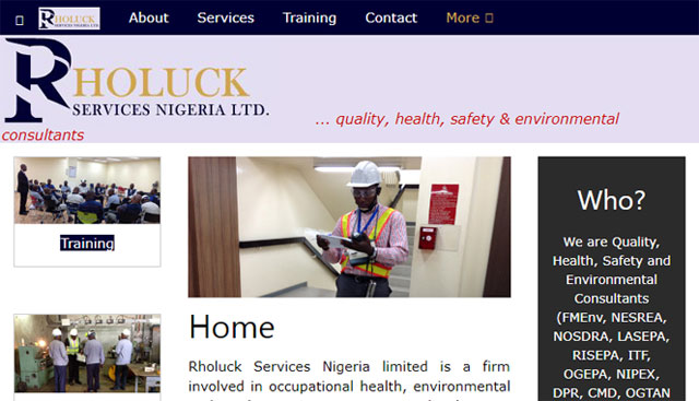 Rholuck Services Nigeria Ltd website screenshot