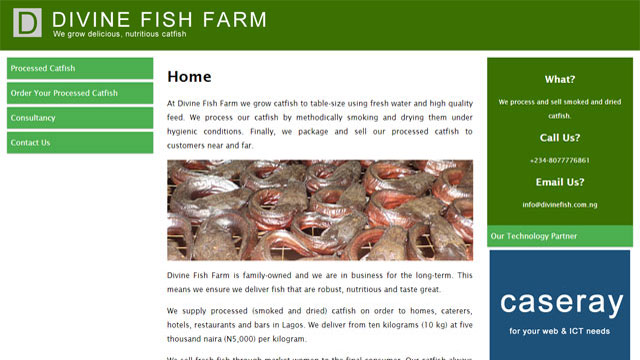 Divine Fish Farm website screenshot