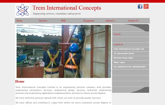 Trem International Concepts Limited website screen