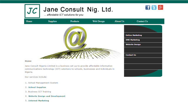 Jane Consult Nigeria Limited website screenshot