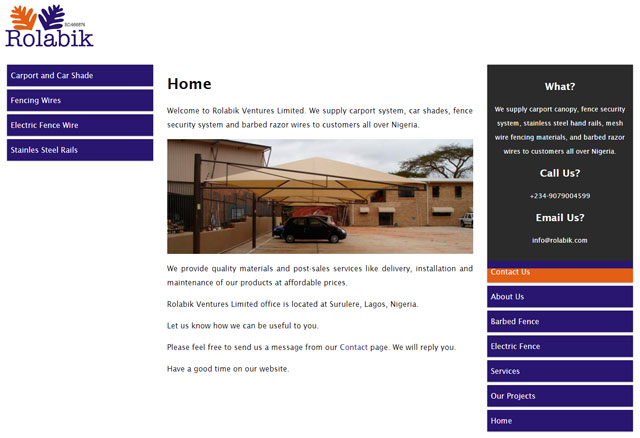 Rolabik Ventures Limited for carport and security