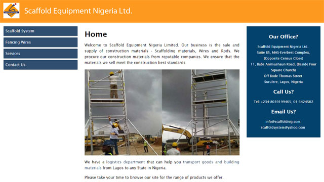 Scaffold Equipment  Nigeria Limited website screen