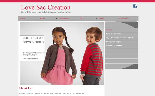 Love Sac Creation website screenshot