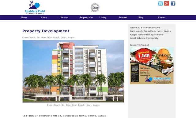 Hudders  Field Property Agency website screenshot